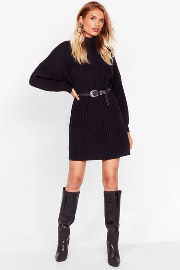 Black On a Roll Knitted Turtleneck Dress