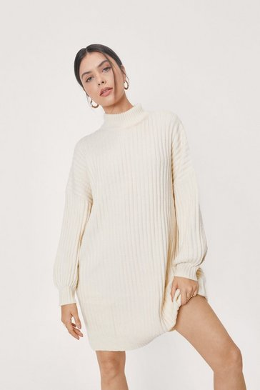 White On a Roll Knitted Turtleneck Dress