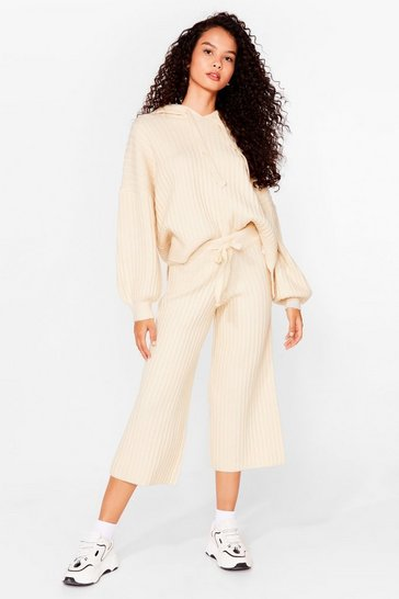 Cream Get Knit Done Ribbed High-Waisted Joggers