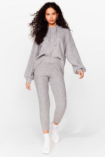Grey marl Get Knit Done Ribbed High-Waisted Joggers