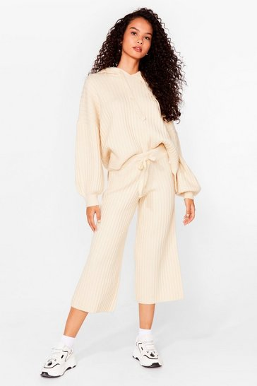 Cream Get Knit Done Ribbed High-Waisted Culottes