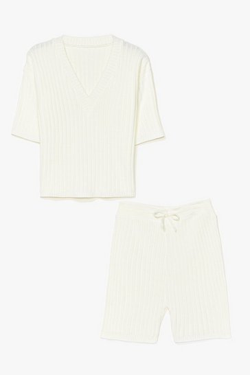 Cream Ribbed Shorts Loungewear Set
