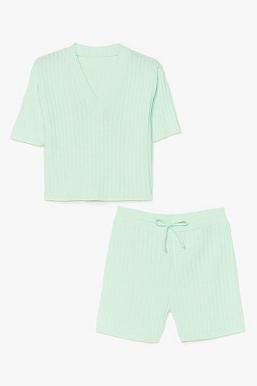 Mint Knit's Your Chance Ribbed Shorts Lounge Set