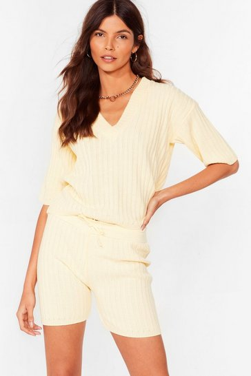Yellow Knit's Your Chance Ribbed Shorts Lounge Set