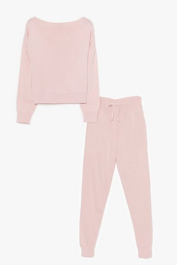 Salmon So Easy Knitted Joggers Lounge Set
