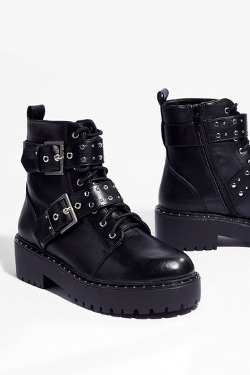 Black You're Stud to Go Cleated Heeled Boots