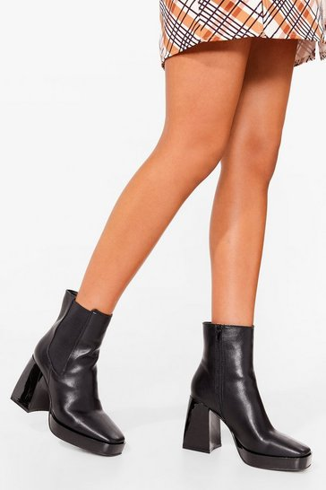 Black Be Flare in a Minute Faux Leather Chelsea Boots