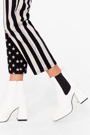 White Be Flare in a Minute Faux Leather Chelsea Boots