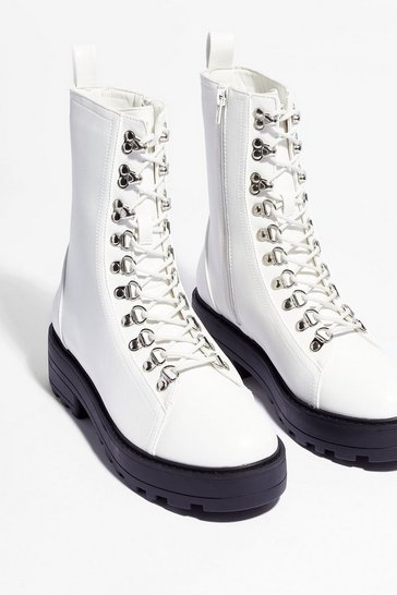 White Just Hike That Chunky Biker Boots