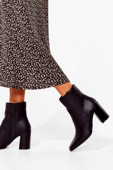 Black How Does It Heel Faux Leather Ankle Boots