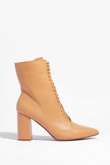 Beige Walk This Way Lace-Up Heeled Boots