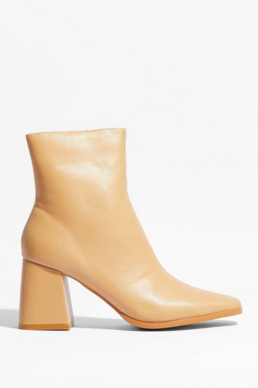 Beige Flared Heel Faux Leather Ankle Boots