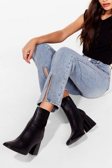 Black Flared Heel Faux Leather Ankle Boots