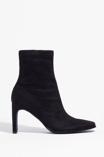 Black Sock It to Me Pointed Heeled Boots