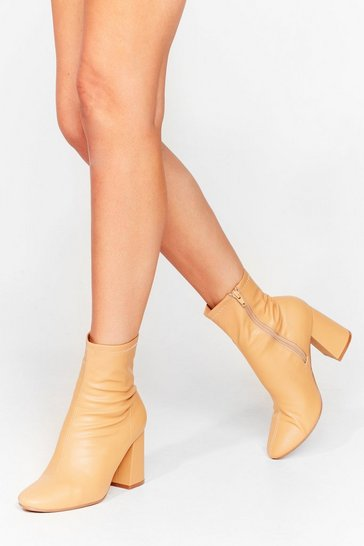 Beige Sock on the Agenda Faux Leather Ankle Boots