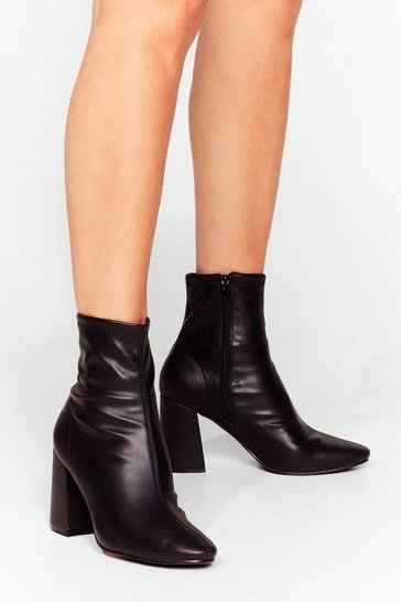 Black Sock on the Agenda Faux Leather Ankle Boots