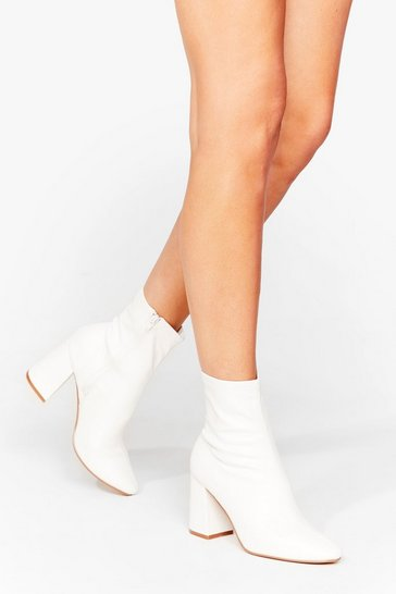 White Sock on the Agenda Faux Leather Ankle Boots