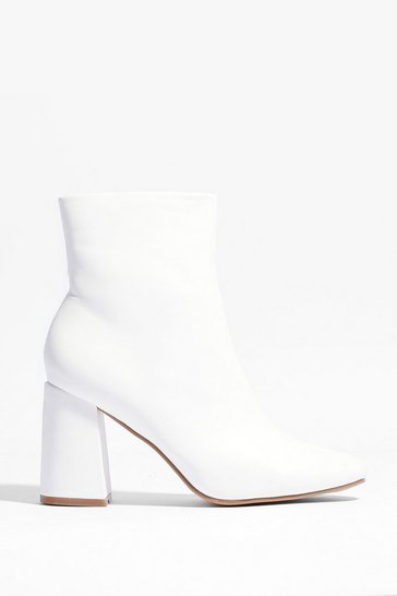 White Faux Leather Heeled Boots