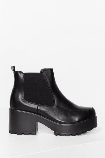 Black Kick Back and Relax Faux Leather Chelsea Boots