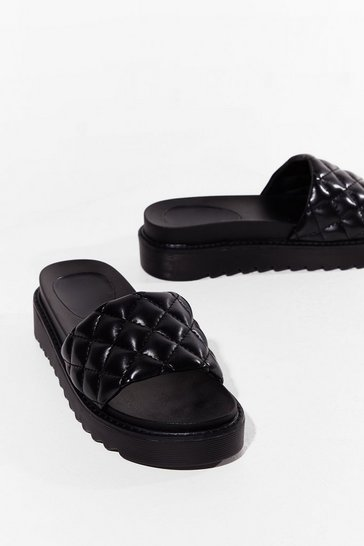 Black Quilt Wastin' Time Faux Leather Platform Sandals