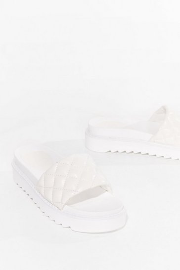 Quilt Wastin' Time Faux Leather Platform Sandals, White