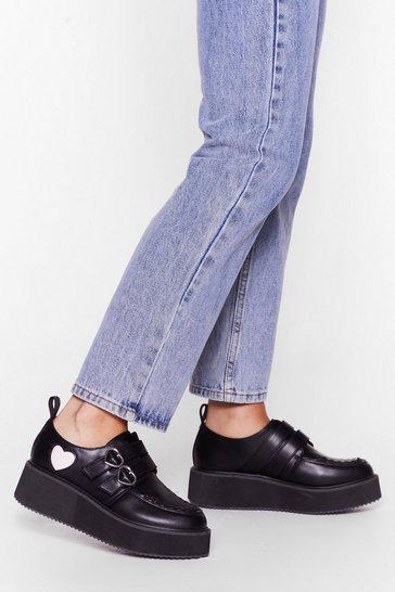 Black Heart and Sole Faux Leather Platform Brogues