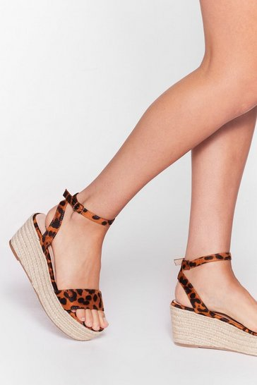 Brown So Purrty Faux Suede Leopard Sandals