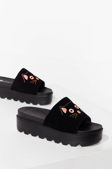 Black Spit It Meow-t Faux Suede Platform Sandals