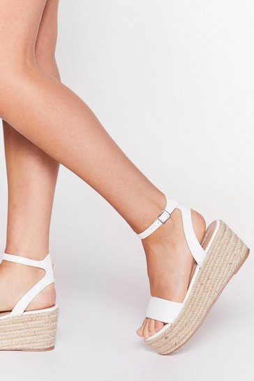 White Lift Off Woven Platform Sandals