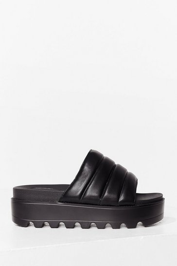 Black Take a Walk Faux Leather Cleated Sandals