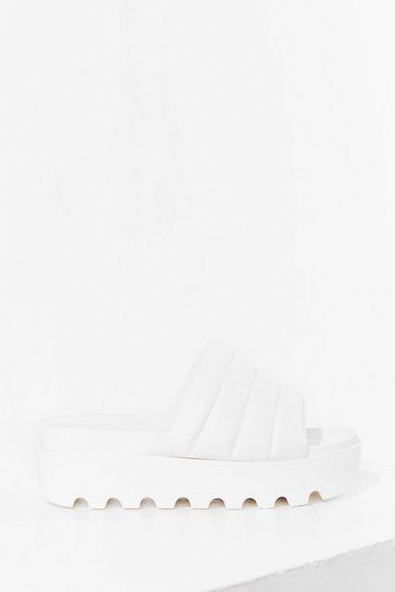 White Take a Walk Faux Leather Cleated Sandals