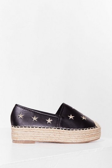 Black Searching for Fame Platform Espadrilles