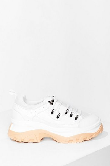 White Two Tone Faux Leather Chunky Trainers