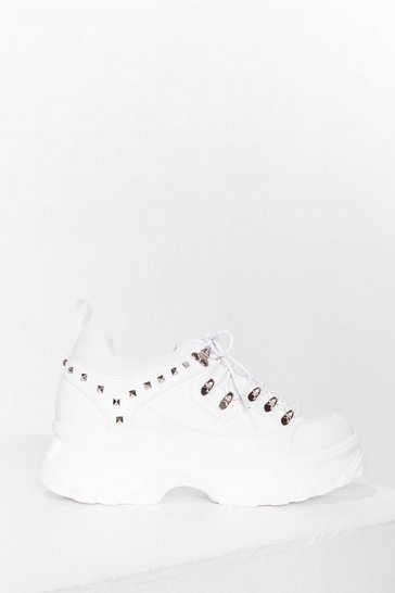 White Hike It or Not Studded Lace-Up Trainers