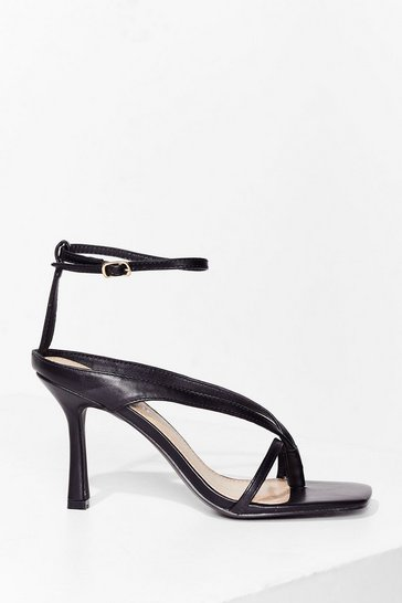 Black Boogie On Down Faux Leather Strappy Heels