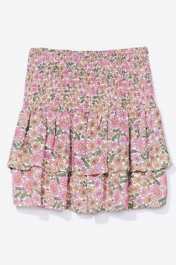 Pink floral shirred ruffle hem mini skirt