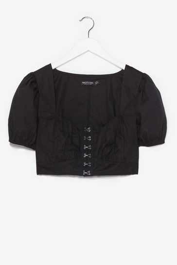 Black Hook No Further Puff Sleeve Crop Top