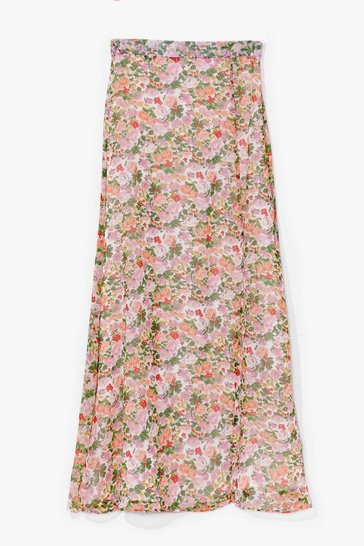 White Nobody Bud You Floral Maxi Skirt