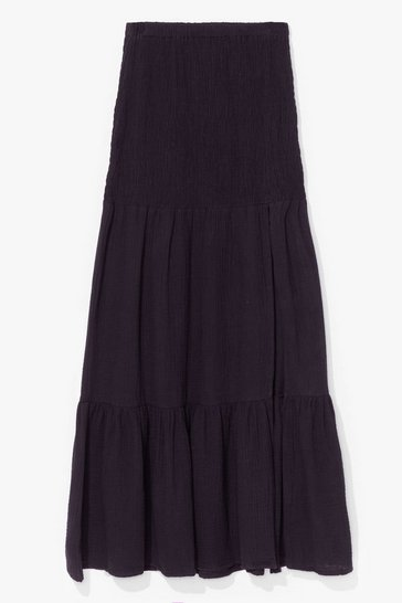Black Shirred It Here First Tiered Maxi Skirt