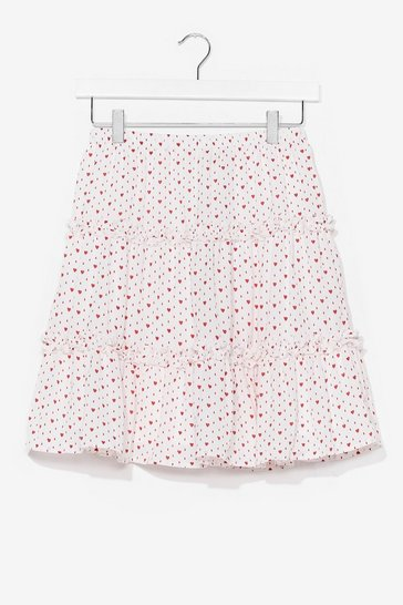 White heart print ruffle tiered mini skirt