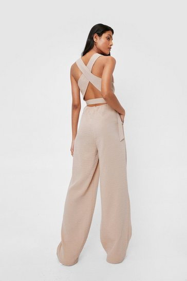 Stone Crossover Wide Leg Cut Out Jumpsuit