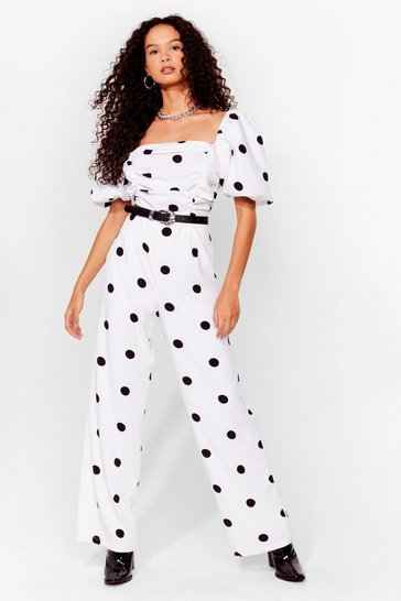 White polka dot ruched front puff sleeve jumpsuit