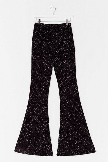 Black Flare You At Spotty High-Waisted Pants