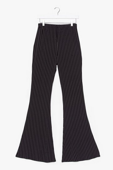 Black If the Pinstripe is Right Flare Pants