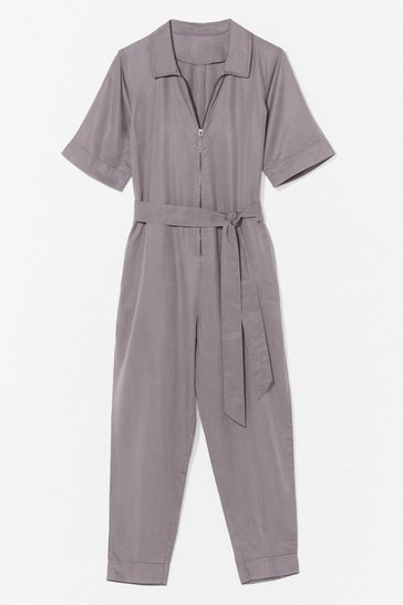 Grey Hard Days Work Belted Tapered Boilersuit