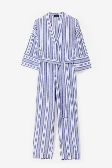 Blue You're Just My Stripe Belted Linen Jumpsuit