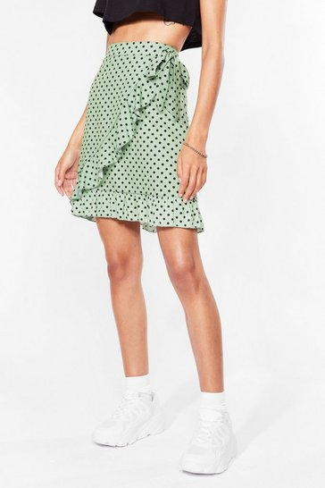 Sage Polka Dots the Plan Wrap Mini Skirt