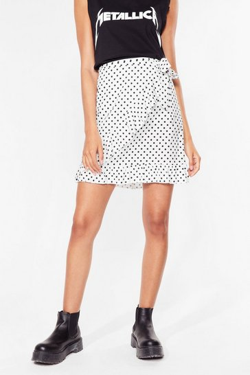 White Polka Dots the Plan Wrap Mini Skirt