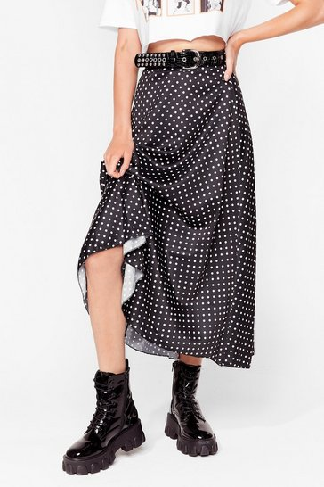 Black Dotta Shake It Up Satin Midi Skirt