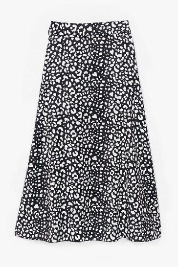 Black Meow About You Leopard Midi Skirt